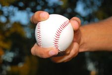 Free Closeup Of Hand Held Baseball Royalty Free Stock Photography - 15418827