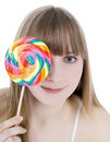 Free Picture Of Happy Blonde With Color Lollipop Stock Photos - 15424843