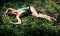Free Lovely Woman In Monokini Lying Among Flowers Stock Photos - 15429273
