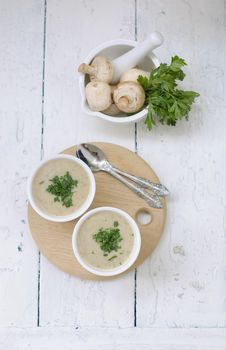Free Mushroom Soup With Parsley Stock Photography - 15420152