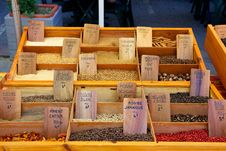 Spices On A Market Stall Royalty Free Stock Photos