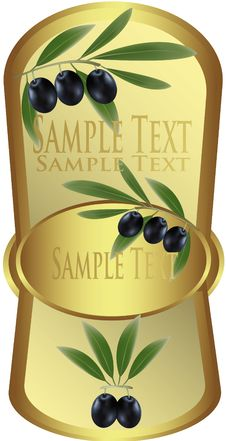 Free Yellow Label With Black Olives. Royalty Free Stock Photos - 15421098