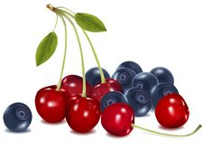 Group Of Cherries And Blueberries With Leaves. Royalty Free Stock Photos