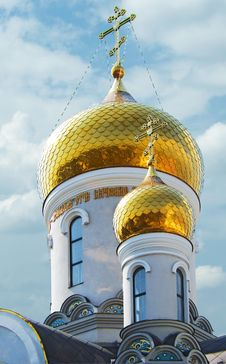 Free Gold Domes Of Orthodox Church With Cross Stock Photo - 15421830