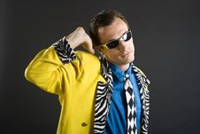 Free Rockabilly Singer From 1950s In Yellow Jacket Royalty Free Stock Photos - 15421848