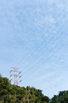 Electric Pylons In The Mountains Stock Image