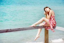 Girl On Sea Background Royalty Free Stock Photos