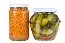 Pickled Cucumbers And Carrots Stock Images