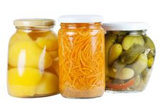 Free Canned Apricots, Cucumbers And Carrots Royalty Free Stock Photography - 15422757