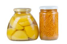Free Canned Apricots And Carrots Royalty Free Stock Photos - 15422788