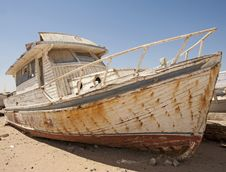 Abandoned Boat In The Desert Stock Photos