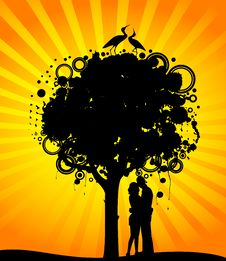 Free Colorful Tree With Lovers. Stock Photos - 15425813