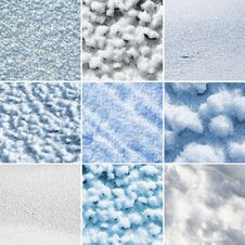 Free Collage Of Nine Snow Textures Royalty Free Stock Image - 15426036