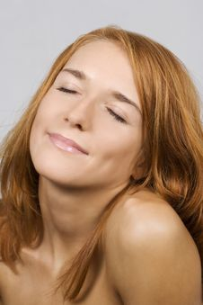 Beautiful Woman With The Closed Eyes Royalty Free Stock Photography
