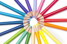 Free Brightly Colored Pencils In A Circle Stock Photography - 15427952