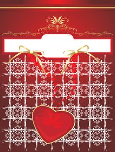 Free Heart On The Decorative Background. Wrapping Stock Images - 15429114