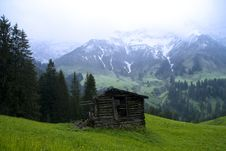 Free Alpine Scenery With Barn Shed And Snow Mountain Ba Stock Photography - 15429122