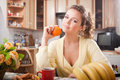 Free Pretty Woman In The Kitchen Stock Photo - 15431210