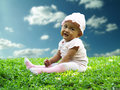 Free Baby Sits At The Grass Field Royalty Free Stock Images - 15433209
