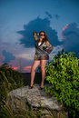 Free Sunset Rock Woman Royalty Free Stock Images - 15439349