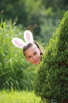 Girl With Funny Rabbit Ears Royalty Free Stock Image