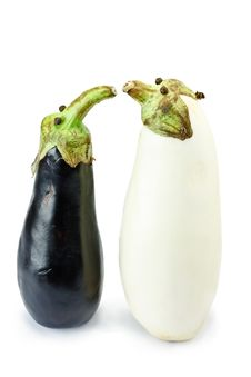 Free Black And White Eggplants As Funny Puppets Royalty Free Stock Photography - 15430657