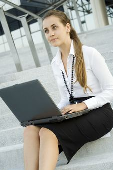 Free Business Woman With Laptop Stock Image - 15431251