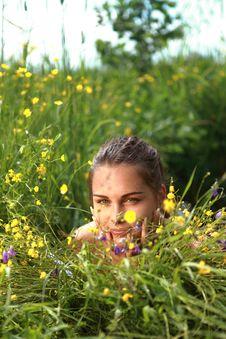 Free Beautiful Girl Lays On A Grass Stock Photos - 15432313