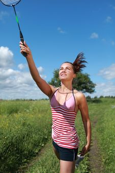Free Beautiful Young Woman Playing Badminton Stock Images - 15432334