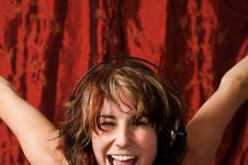 Free Happy Girl With Headphones Royalty Free Stock Photography - 15433427