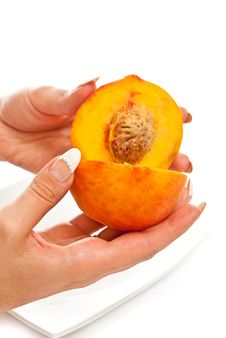 Free Peach In Female Hands Royalty Free Stock Photo - 15434035