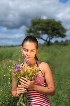 Free Girl Is Gathering Bouquet In A Field Royalty Free Stock Photos - 15434248