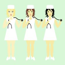 Free Three Nurses With Stethoscopes Stock Images - 15434334