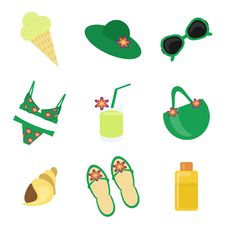 Set With Summer Beach Obgects Stock Images