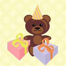 Free Teddy Bear With Present Box Royalty Free Stock Image - 15434426
