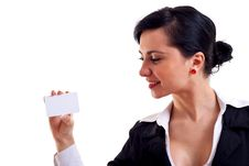 Free Business Woman Showing Card Stock Photo - 15434490