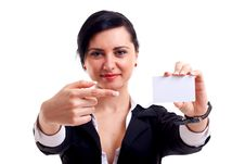 Free Business Woman Showing Card Stock Photos - 15434493