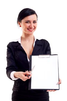 Business Woman Shows A Notepad Stock Photos