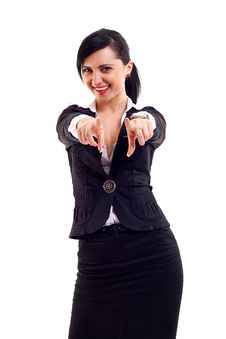 Free Business Woman Pointing On You Stock Image - 15434511