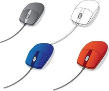Free Four Computer Vector Mouse Royalty Free Stock Photo - 15434745