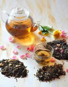 Tea With The Petals Of Roses Stock Photos