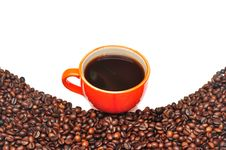 Free Coffee Red Cup And Grain Royalty Free Stock Photo - 15435675