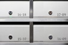 Free Metallic Mailbox Array Tidy Royalty Free Stock Image - 15435746