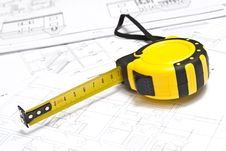 Free Tape -measure And Drawings Stock Image - 15435861