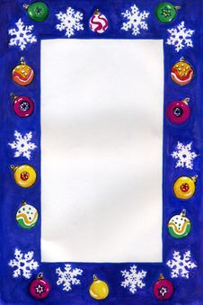 Free Christmas Border With Snowflakes. Royalty Free Stock Images - 15436219