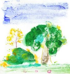Drawn Watercolor Landscape Stock Photo