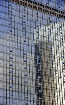 Mirror Image Of A Building In The Mirror Royalty Free Stock Photography
