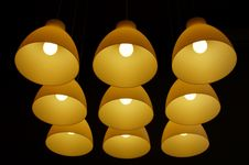 Free Set Of Ceiling Lamps Hanging On Long Cords Stock Images - 15437544