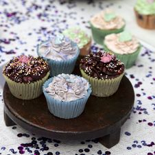 Free Muffins With Colour Topping Stock Image - 15438051