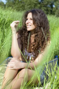 Woman In Green Grass Royalty Free Stock Photo